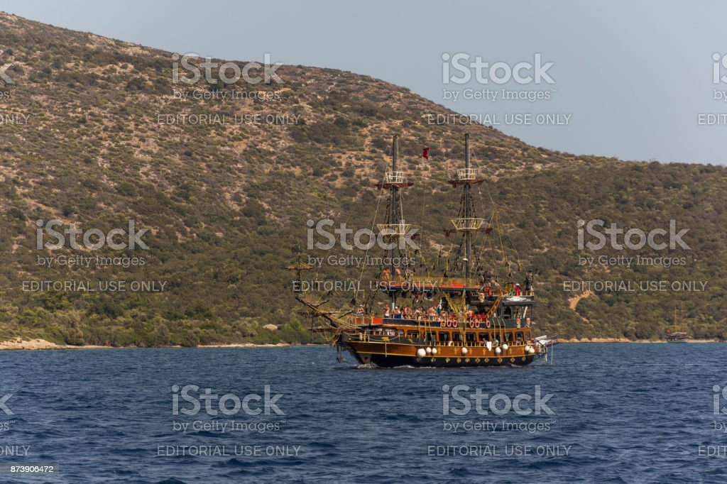 Traditional sailing wooden goulet boat travel at daily swimming tour in gokova bay bodrum of mugla turkey stock photo