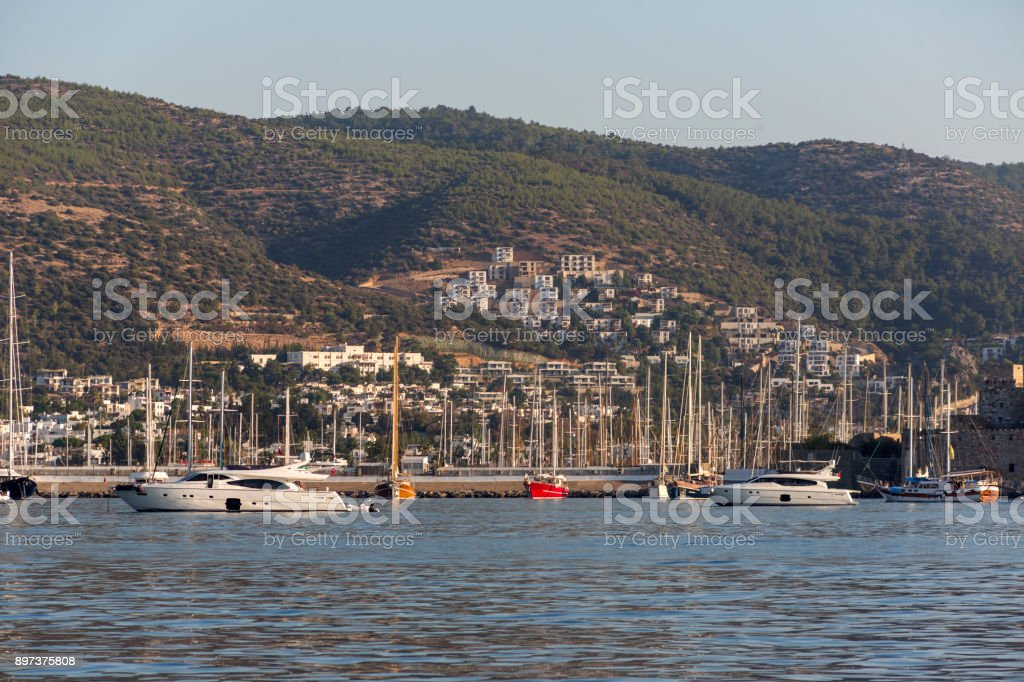 Traditional sailing wooden goulet boats awaiting for blue voyage front of  bodrum mugla turkey stock photo