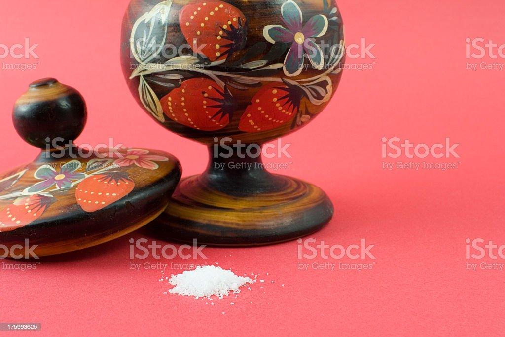 Traditional salt/sugar jar Nicely decorated Russian jar for salt or sugar. Copy space at right hand side. Ancient Stock Photo