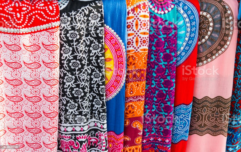 Traditional Sarongs at a Market at Bali, Indonesia stock photo