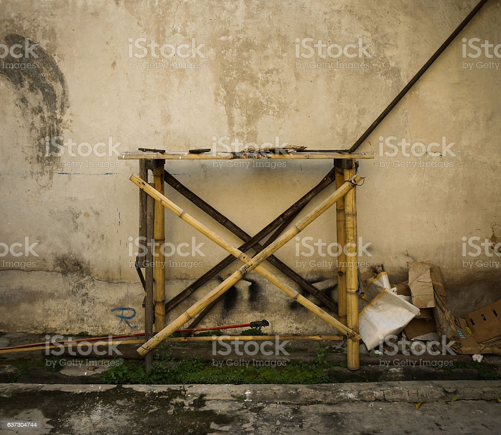 Traditional scaffolding made from bamboo photo taken in Pekalongan Indonesia stock photo