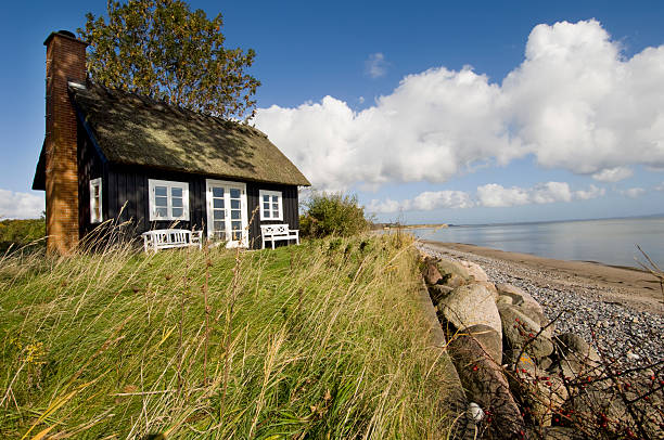 traditional scandinavian beach house next to the sea - denmark stock photos and pictures