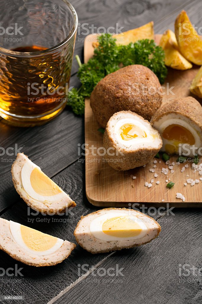 Traditional scotch eggs stock photo
