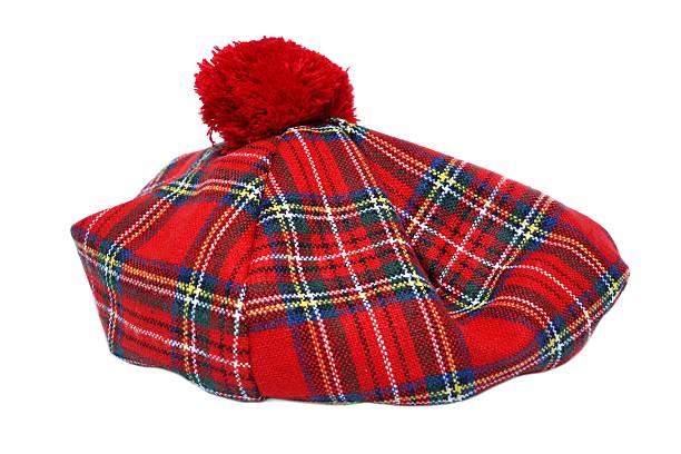 Traditional Scottish Red Tartan Bonnet. stock photo