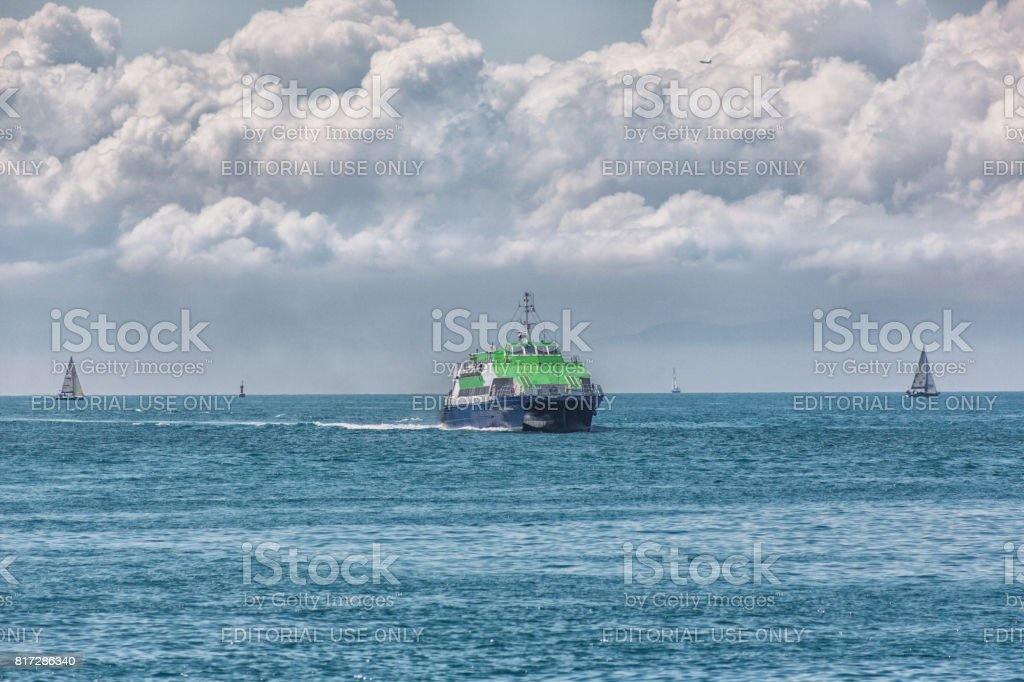 traditional  seabus passenger boat at coast of bosphorus near kadikoy istanbul turkey stock photo