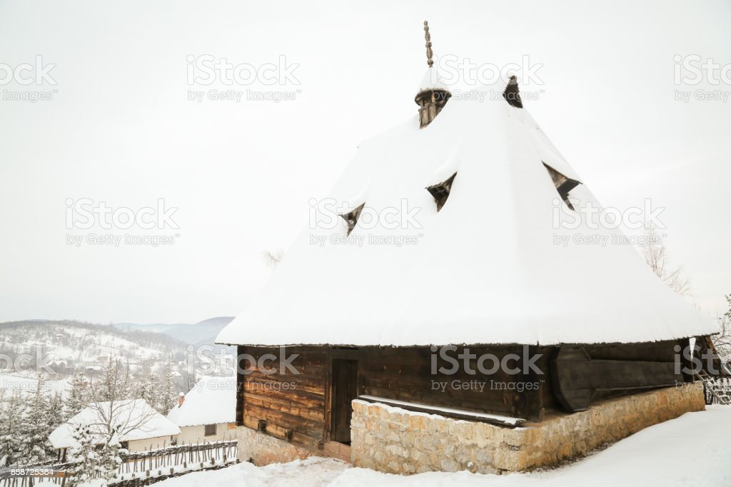 Traditional Serbian village Sirogojno on Zlatibor in wintertime stock photo