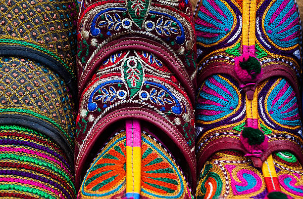 Traditional shoes of Rajasthan Traditional shoes of Rajasthan called Jutti for sale udaipur stock pictures, royalty-free photos & images