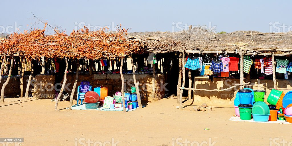 Traditional Shops in Angola, Africa stock photo