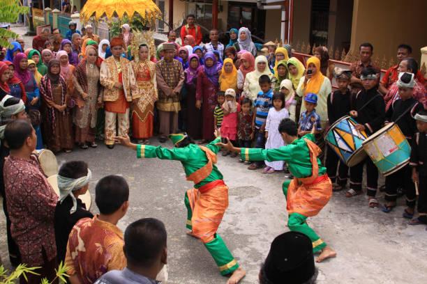 Traditional Silat dance at Minang wedding, Padang stock photo