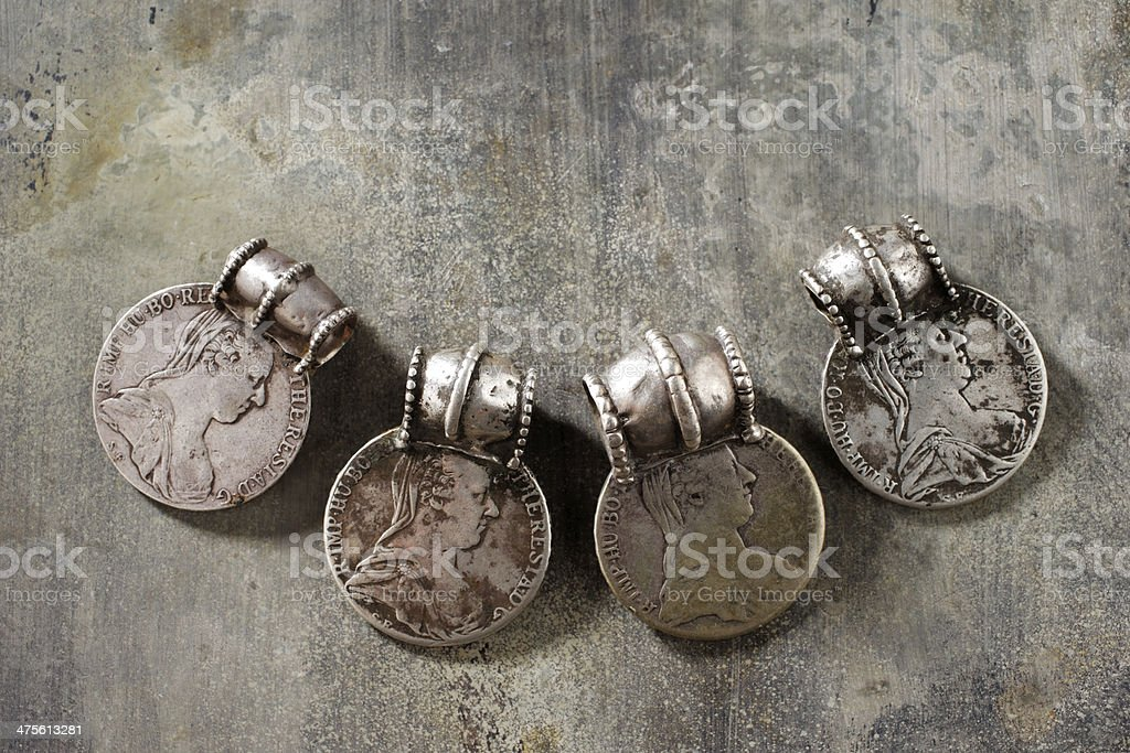 Traditional silver jewelry from the southern Arabian Peninsula stock photo