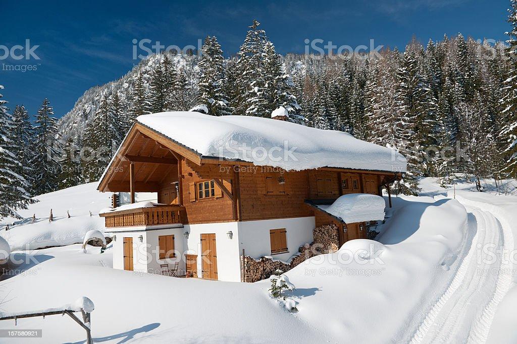 Traditional ski chalet (XXXL) stock photo