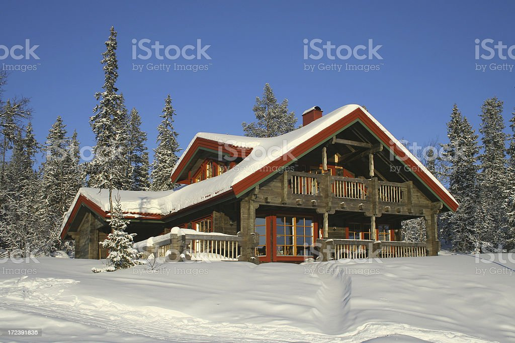 Traditional Ski Chalet stock photo