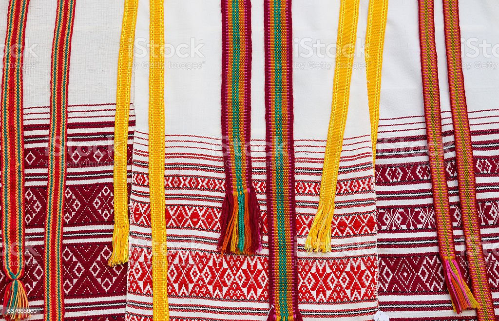 traditional Slavic clothes with national ornaments stock photo