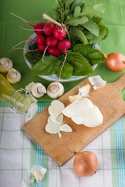 traditional slovak cheese with vegetable and mushrooms - zout smaakstof stockfoto's en -beelden