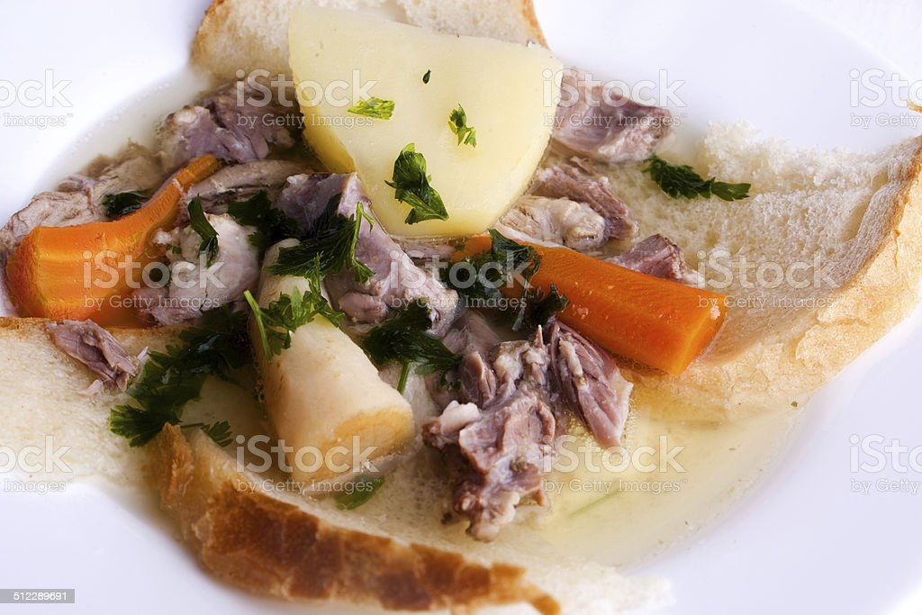 traditional Slovak pork broth stock photo