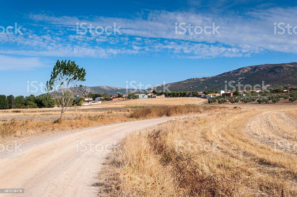 Traditional small hamlet in La Mancha stock photo
