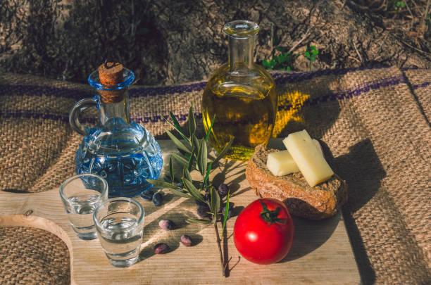 Traditional snacks from Cretan gastronomy stock photo
