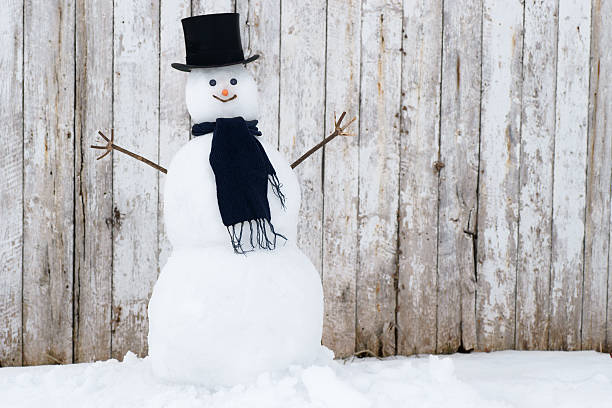 Traditional Snowman. stock photo