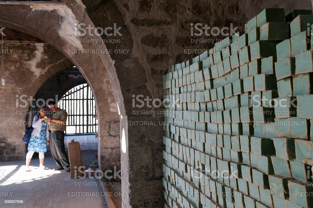 Traditional soap production in Aleppo, Syria stock photo