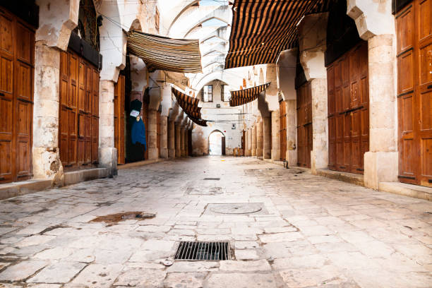 Traditional Souks street with roof in Tripoli, Lebanon stock photo