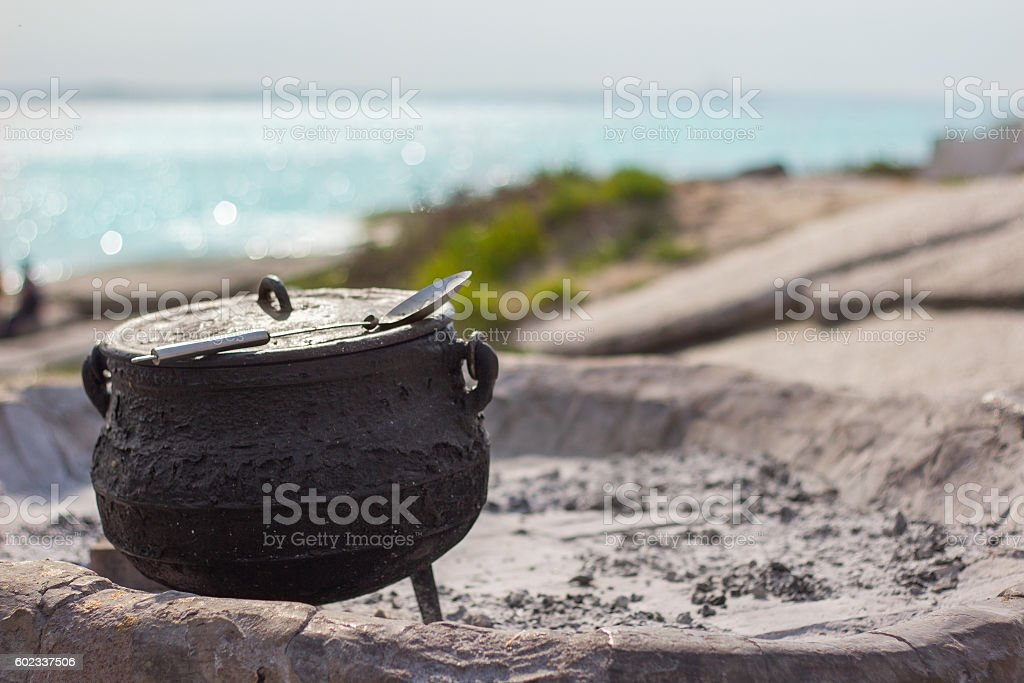 Traditional South African cuisine at the sea stock photo