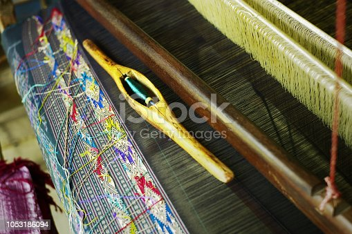 Luang Namta / Laos - JUL 06 2011: traditional south east asian loom used to produce outstanding textiles