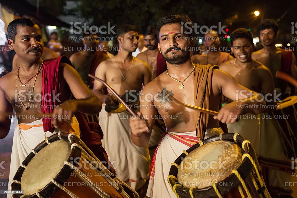 Traditional south indian drummers stock photo