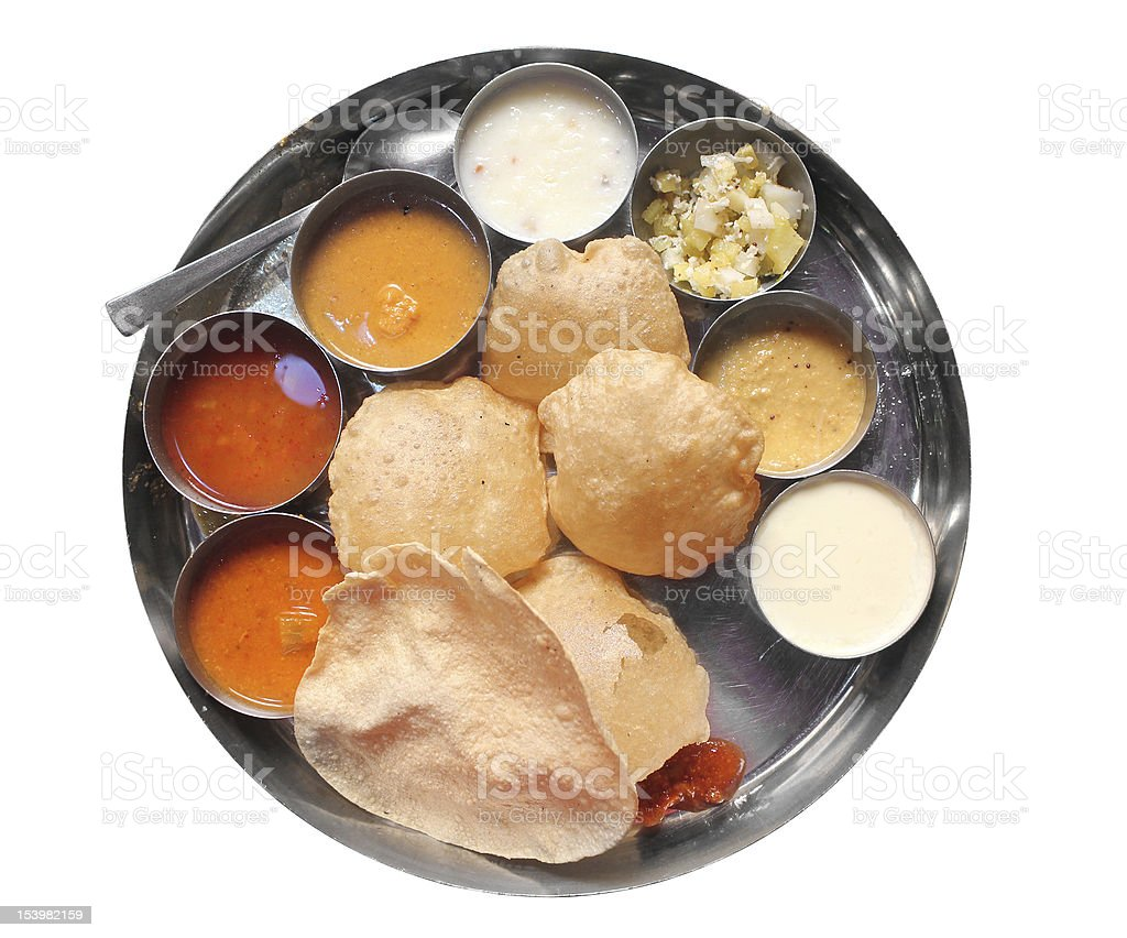 Traditional south indian lunch with puri and sambar royalty-free stock photo