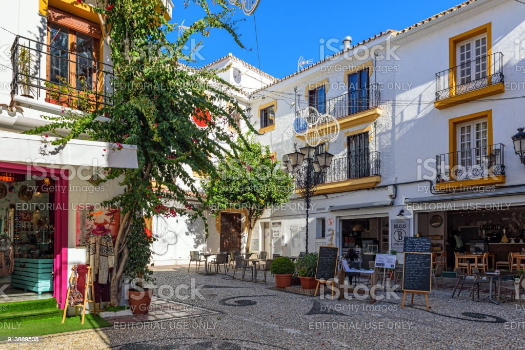 Traditional Spanish Architecture Of Old Town Marbella Andalusia Spain Royalty Free Stock