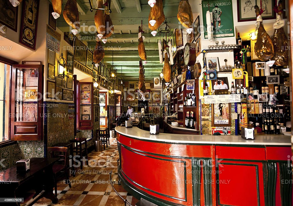 Traditional Spanish Bar in Seville stock photo