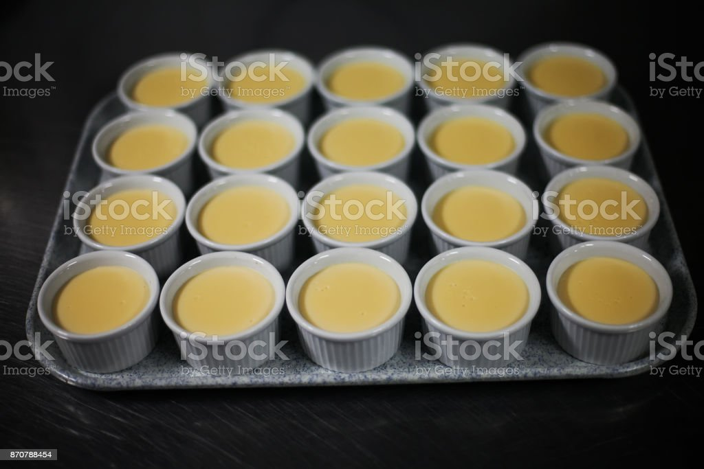 Traditional Spanish Cuisine dessert Crema Catalana before baking in the oven stock photo