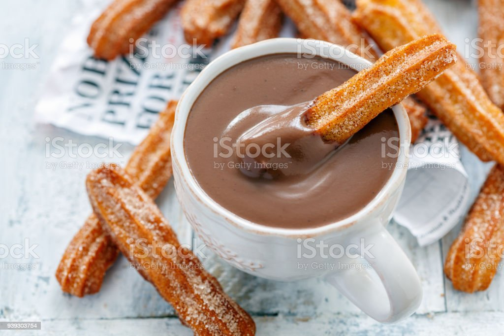 Traditional Spanish dessert churros. stock photo