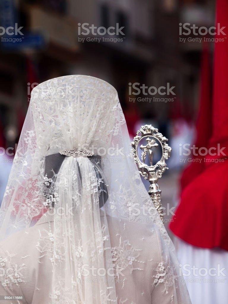traditional spanish head coverage called mantilla stock photo