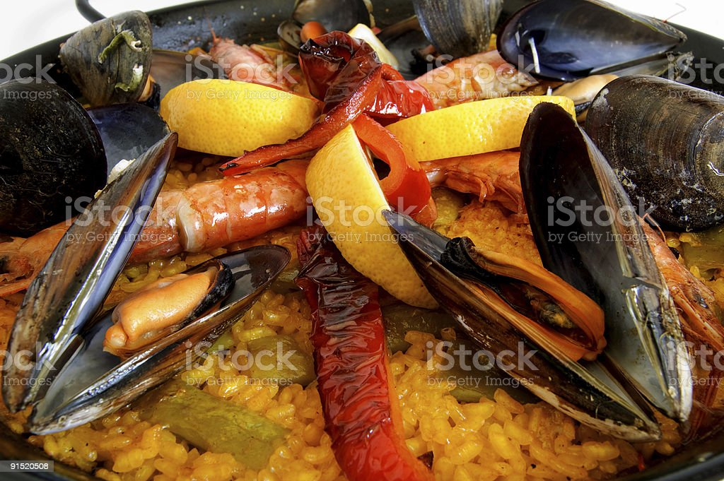 Traditional Spanish paella with seafood royalty-free stock photo