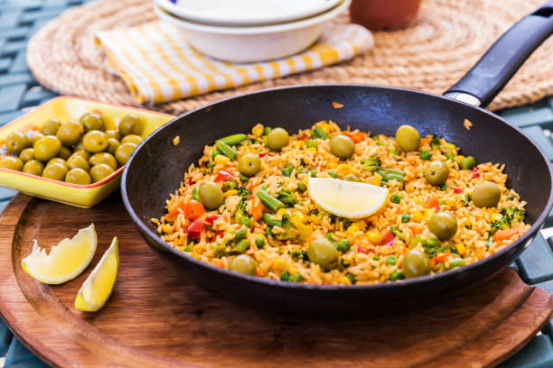 Traditional spanish rice dish - vegetable paella stock photo