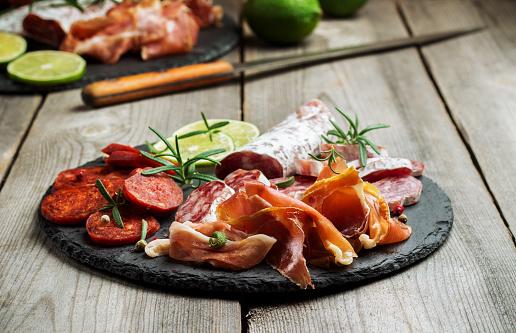 Traditional Spanish Tapas Or Italian Antipasti Stock Photo ...