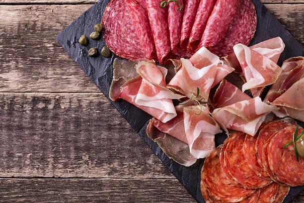 Traditional spanish tapas or italian antipasti stock photo