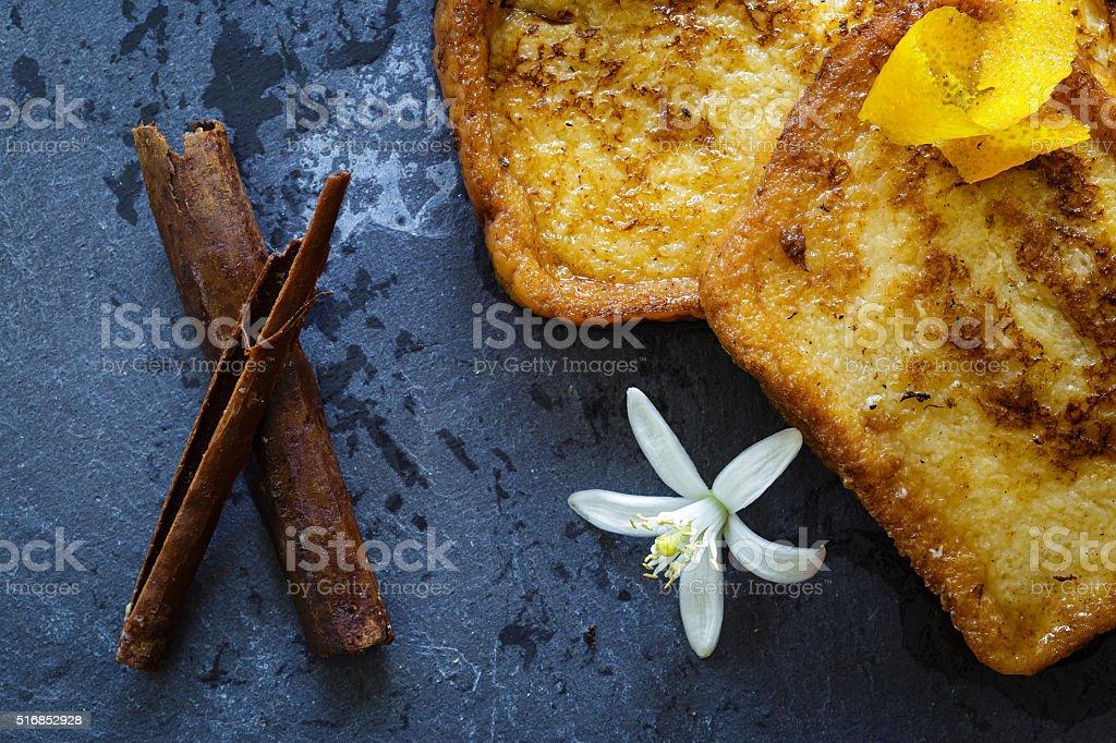 Traditional Spanish torrijas (French toasts). Dessert of Holy Week stock photo