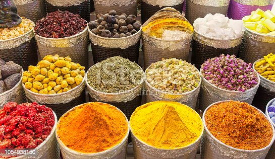 traditional spice market in United Arab Emirates, Dubai souk or market