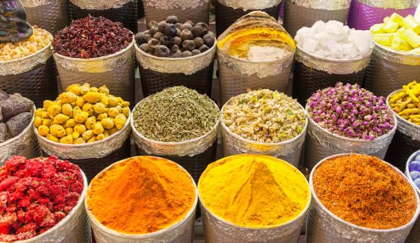 traditional spice market in united arab emirates, dubai souk - spezia foto e immagini stock