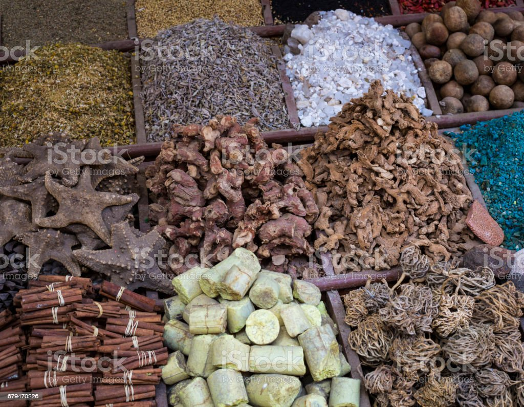Traditional spices bazaar with herbs and spices in Aswan, Egypt. royalty-free stock photo