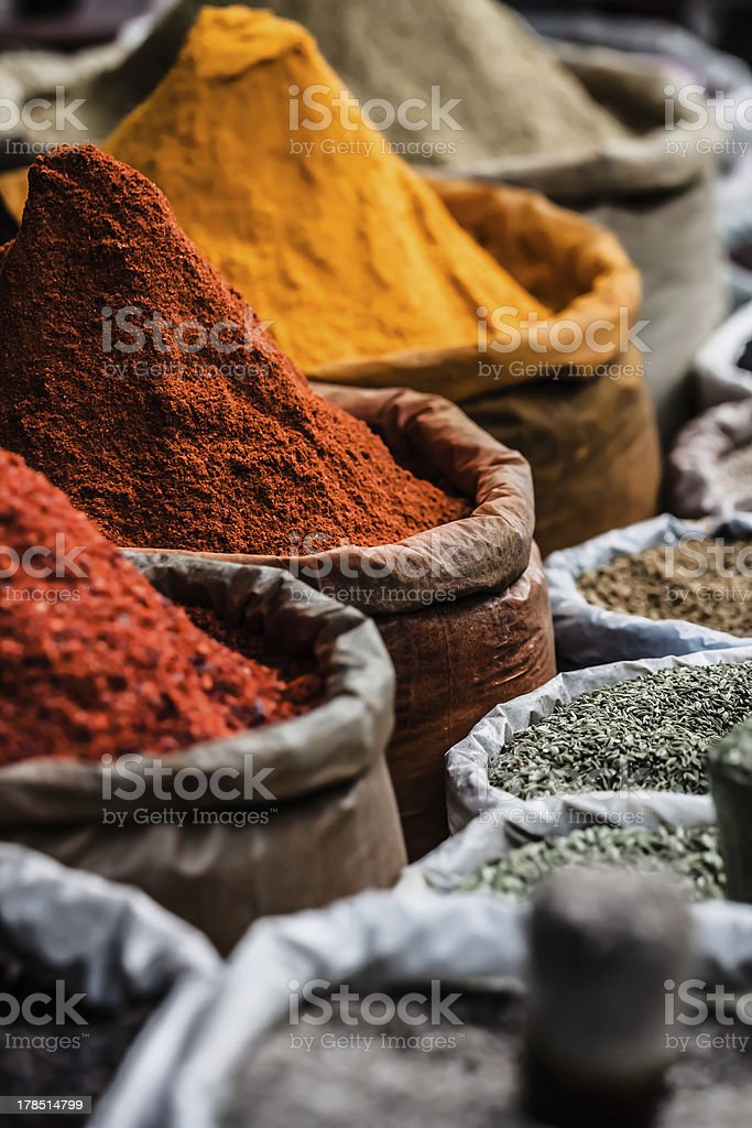 Traditional spices market in India. stock photo
