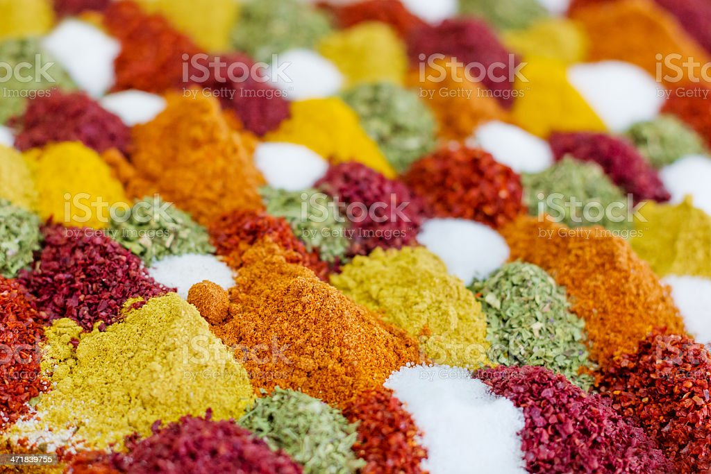 Traditional spices market stock photo