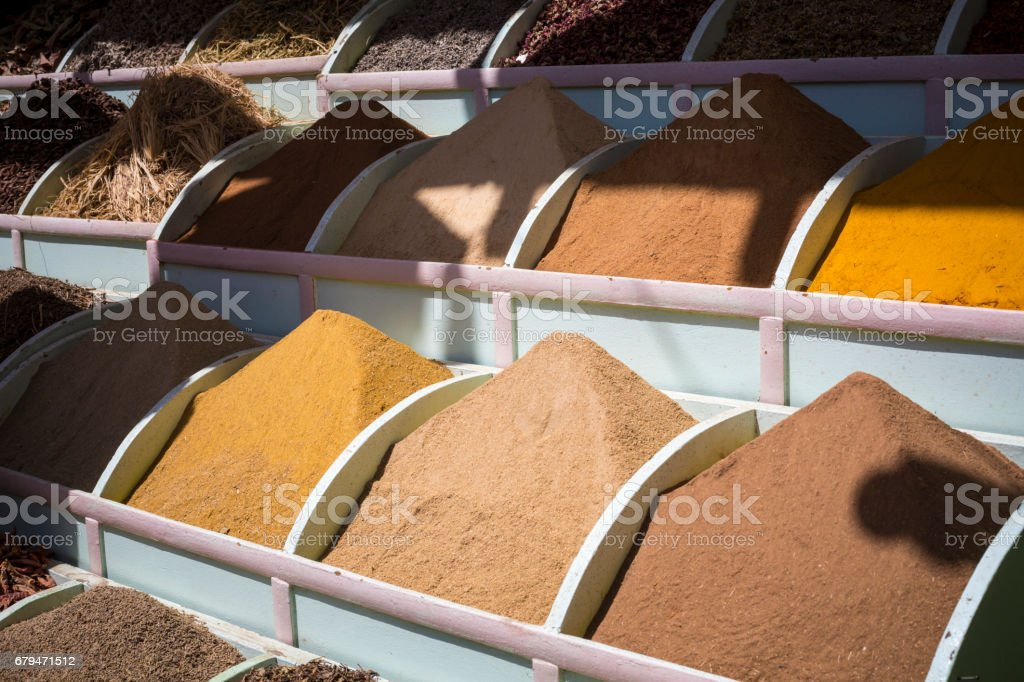 Traditional spices market with herbs and spices in Aswan, Egypt. royalty-free stock photo