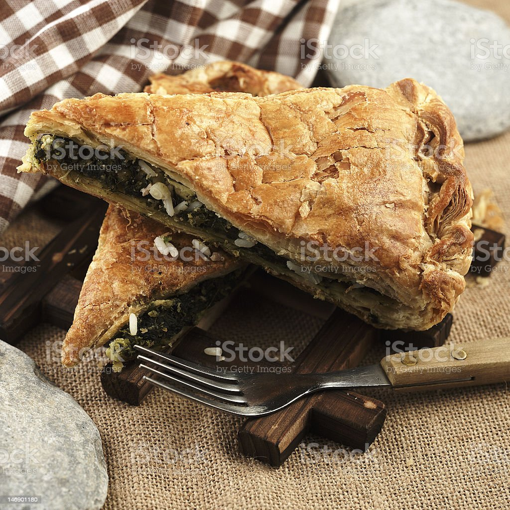 traditional spinach pie royalty-free stock photo