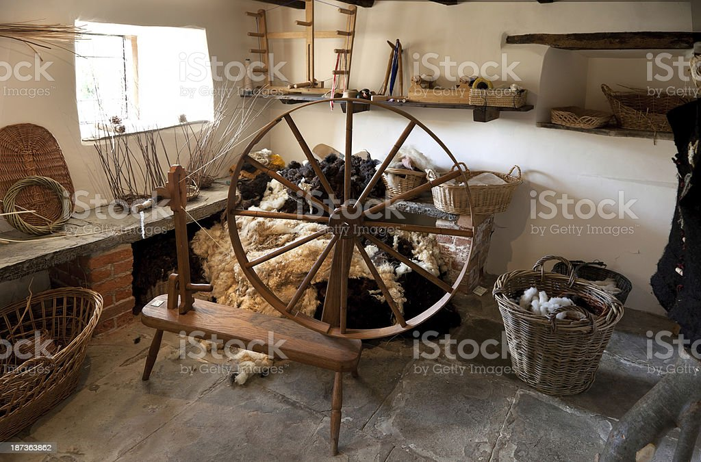 Traditional spinning wheel stock photo