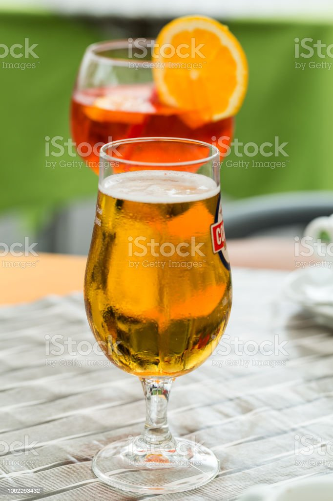 Traditional Spritz aperitif and beer  in a bar in Italy stock photo