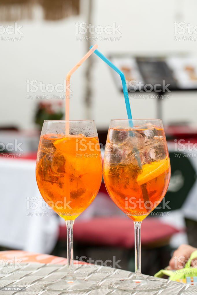 Traditional Spritz aperitif  in a bar in Italy stock photo