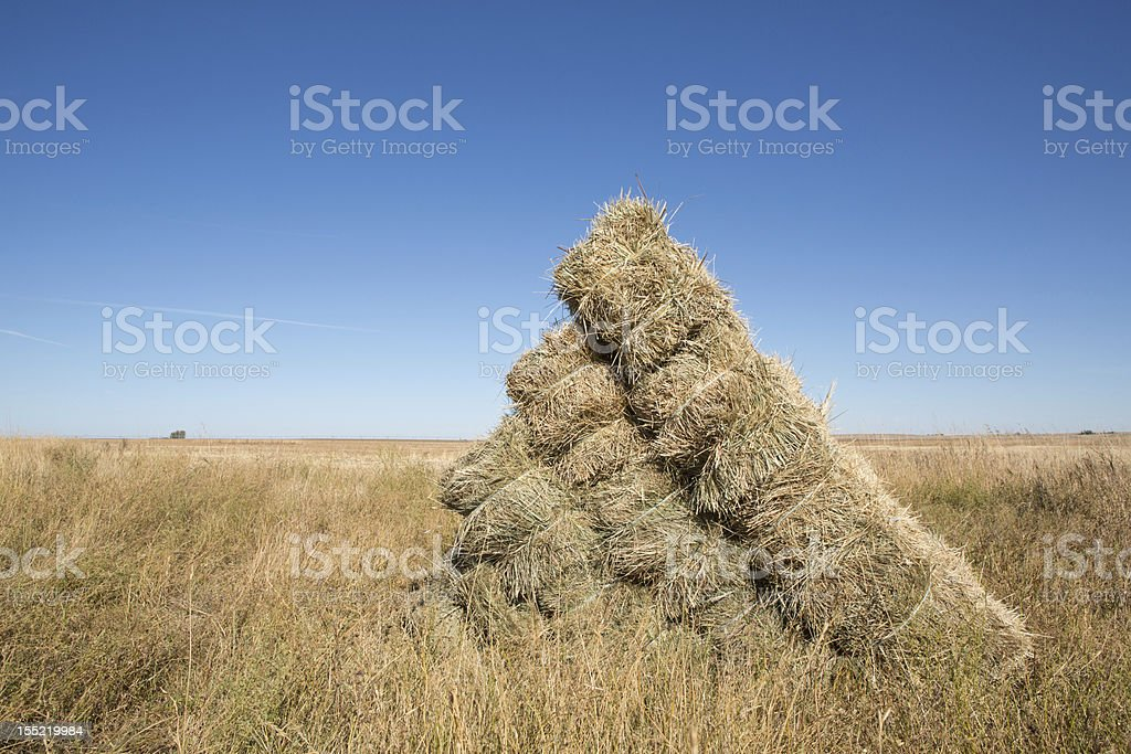 Traditional square hay bale stack on prairie field stock photo