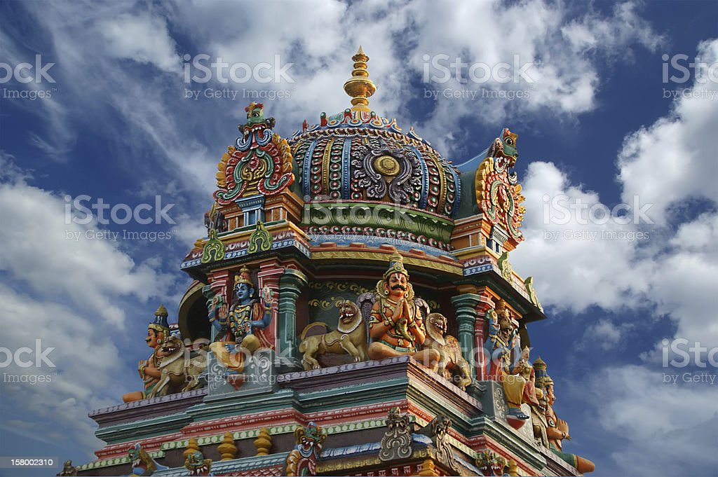 Traditional statues of gods and goddesses in the Hindu temple stock photo